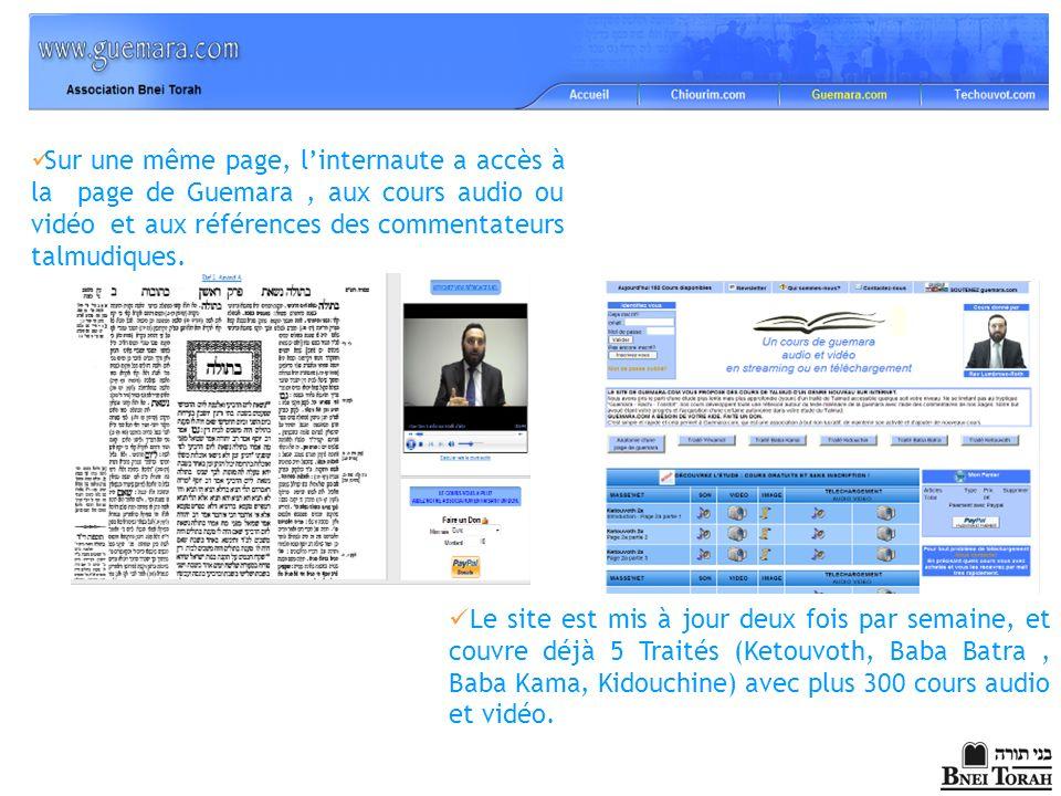 Sur une même page, l'internaute a accès à la page de Guemara , aux cours audio ou vidéo et aux références des commentateurs talmudiques.