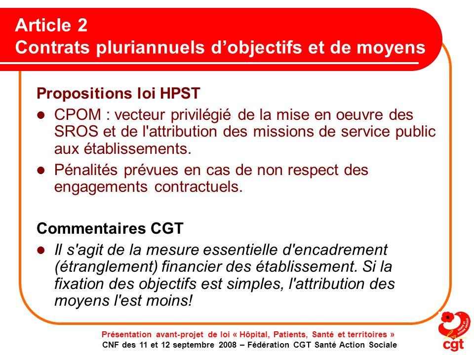 Article 2 Contrats pluriannuels d'objectifs et de moyens