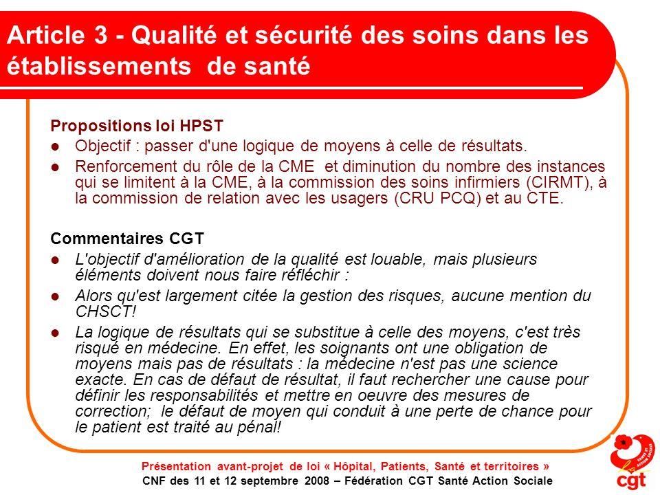 Article 3 - Qualité et sécurité des soins dans les établissements de santé