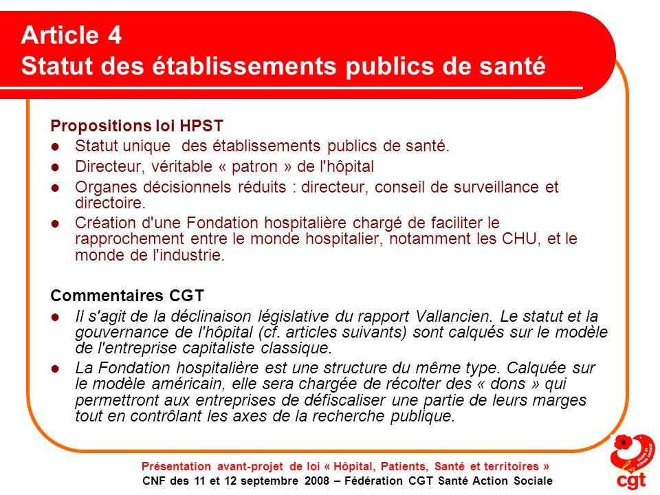 Article 4 Statut des établissements publics de santé