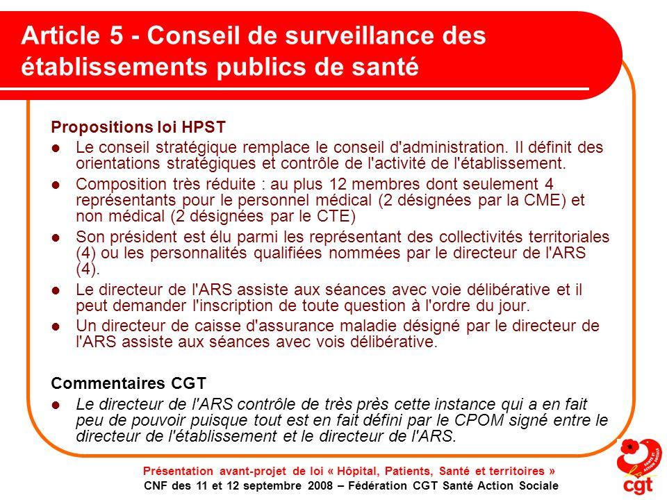 Article 5 - Conseil de surveillance des établissements publics de santé