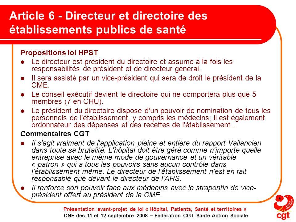 Article 6 - Directeur et directoire des établissements publics de santé