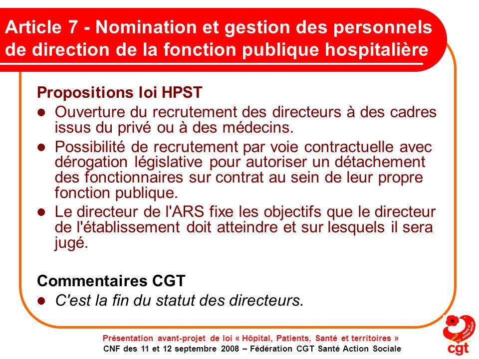 Article 7 - Nomination et gestion des personnels de direction de la fonction publique hospitalière
