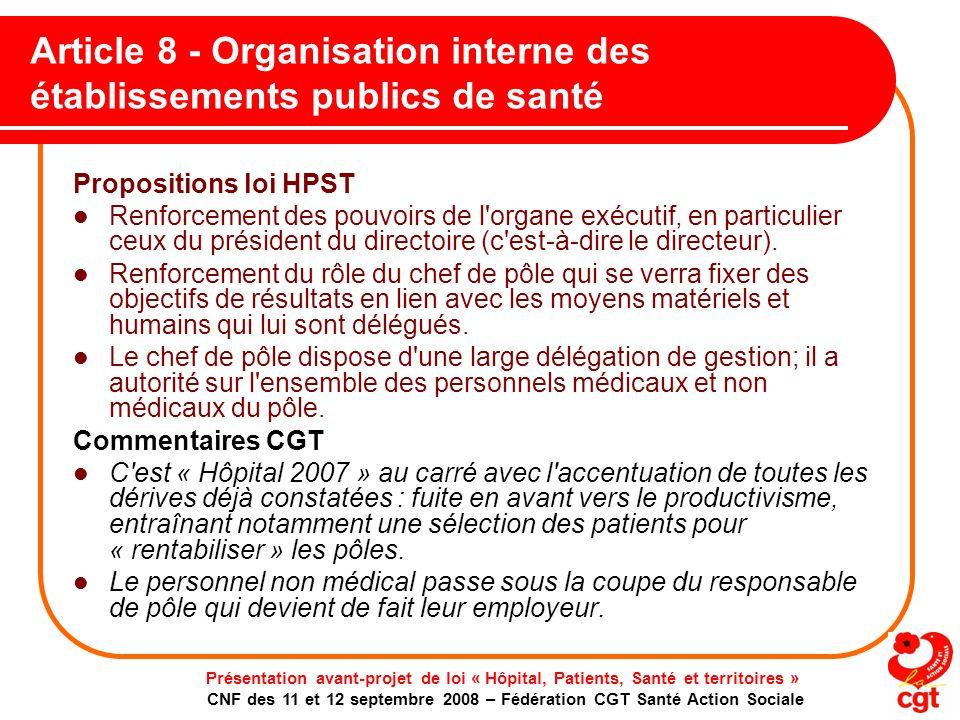 Article 8 - Organisation interne des établissements publics de santé