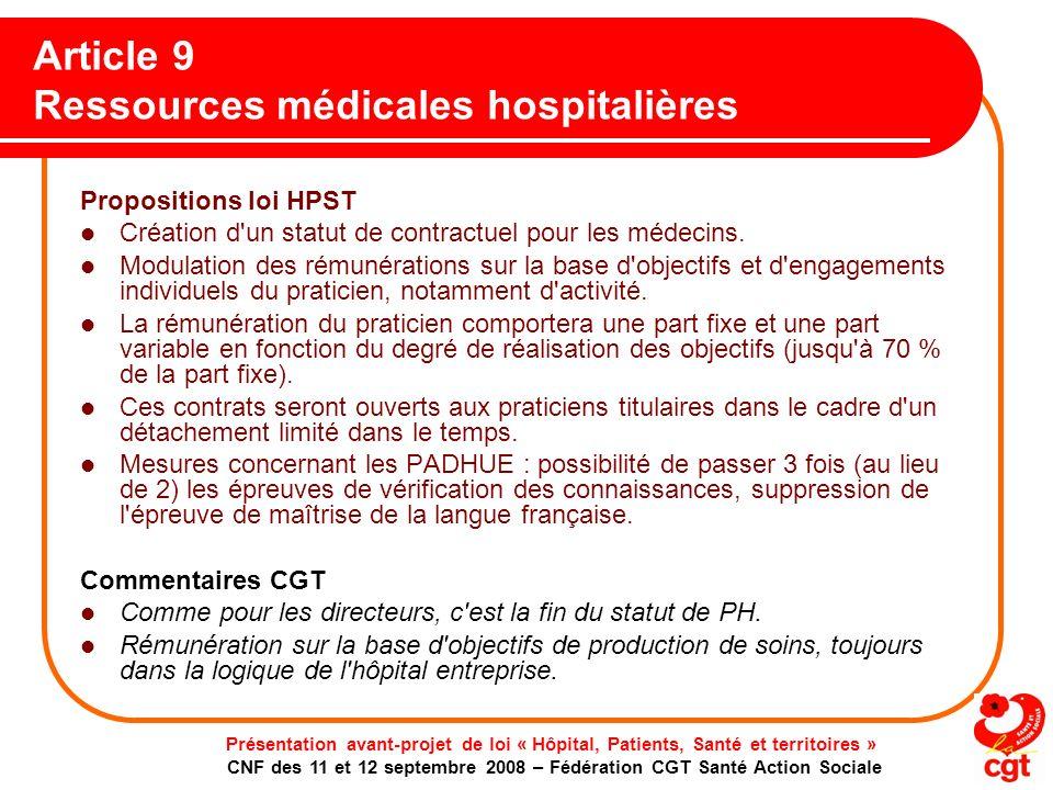 Article 9 Ressources médicales hospitalières