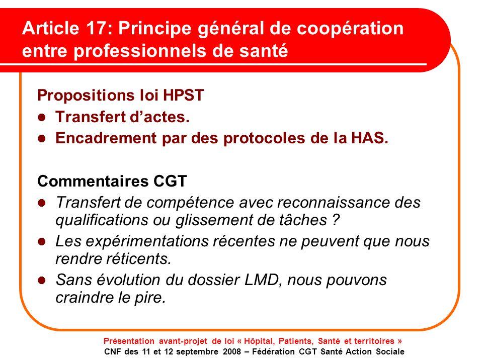Article 17: Principe général de coopération entre professionnels de santé