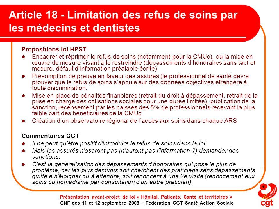 Article 18 - Limitation des refus de soins par les médecins et dentistes