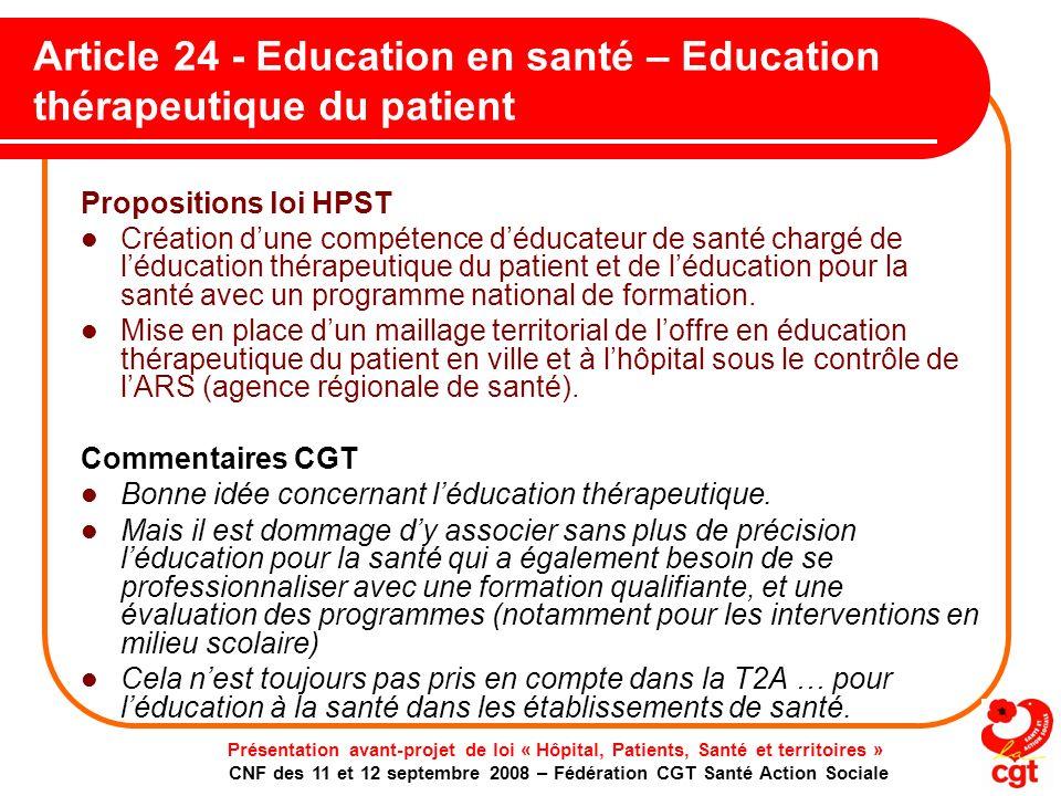 Article 24 - Education en santé – Education thérapeutique du patient