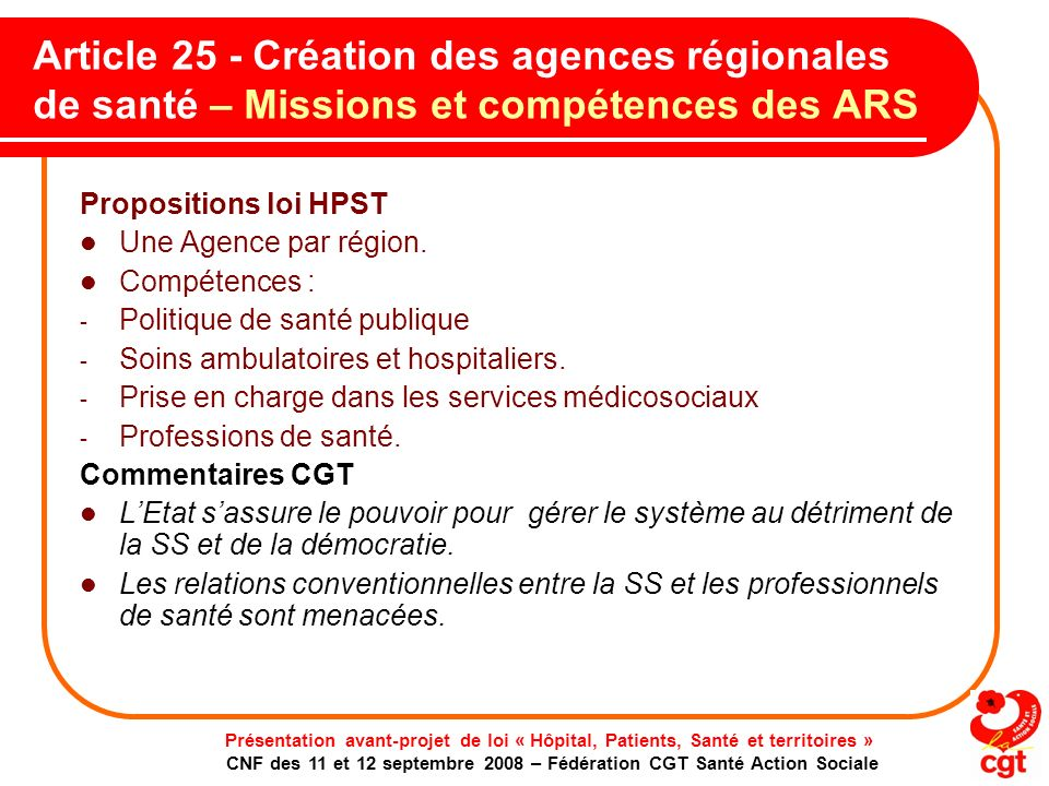Article 25 - Création des agences régionales de santé – Missions et compétences des ARS