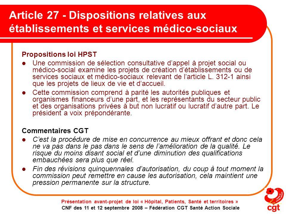 Article 27 - Dispositions relatives aux établissements et services médico-sociaux