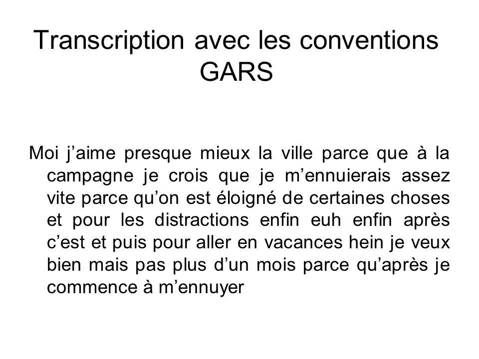 Transcription avec les conventions GARS