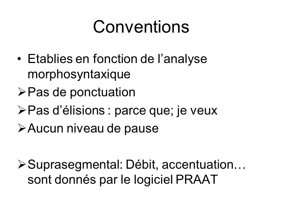 Conventions Etablies en fonction de l'analyse morphosyntaxique