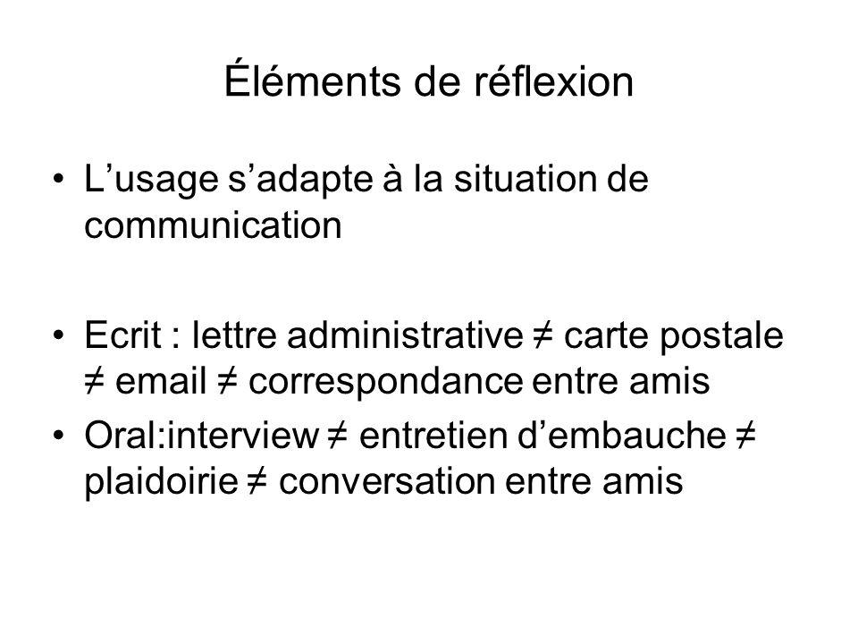 Éléments de réflexion L'usage s'adapte à la situation de communication