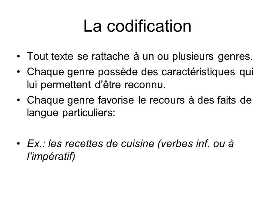La codification Tout texte se rattache à un ou plusieurs genres.