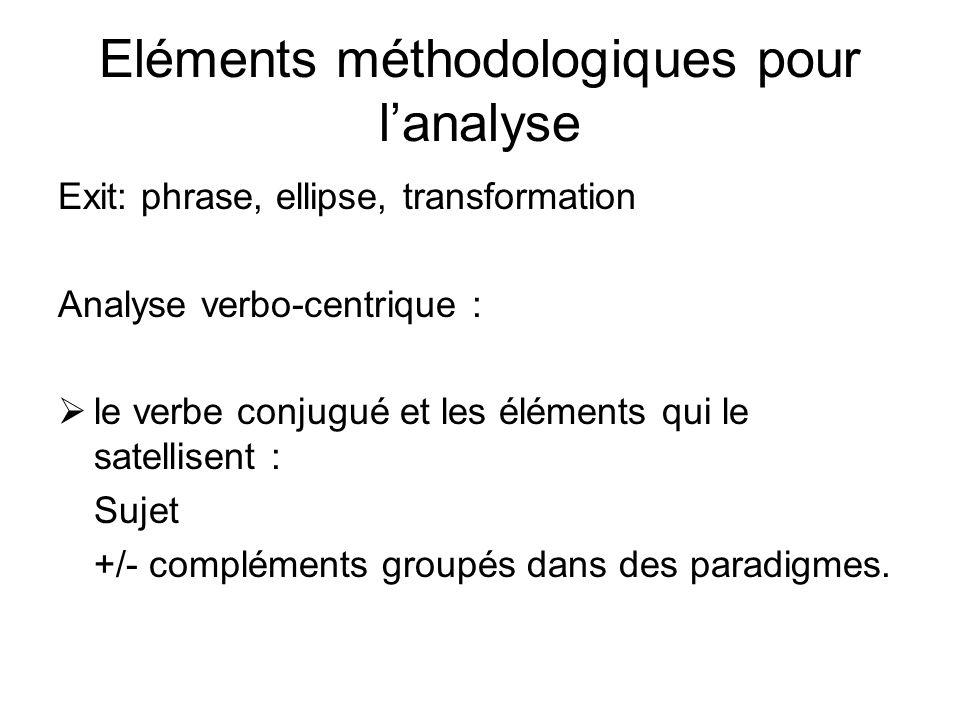 Eléments méthodologiques pour l'analyse