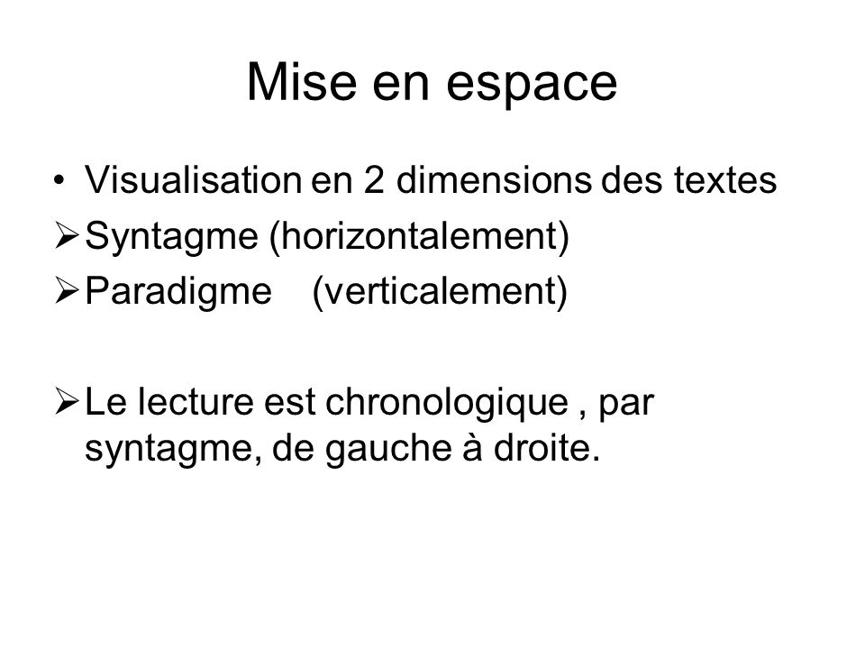 Mise en espace Visualisation en 2 dimensions des textes