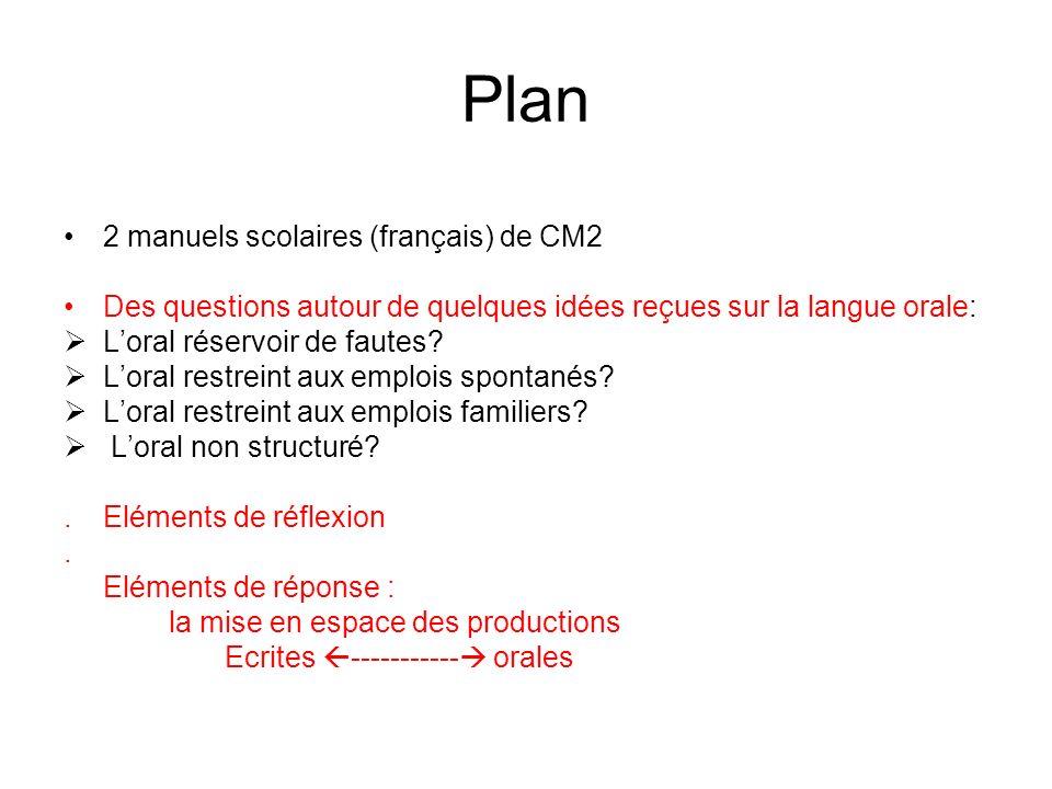 Plan 2 manuels scolaires (français) de CM2