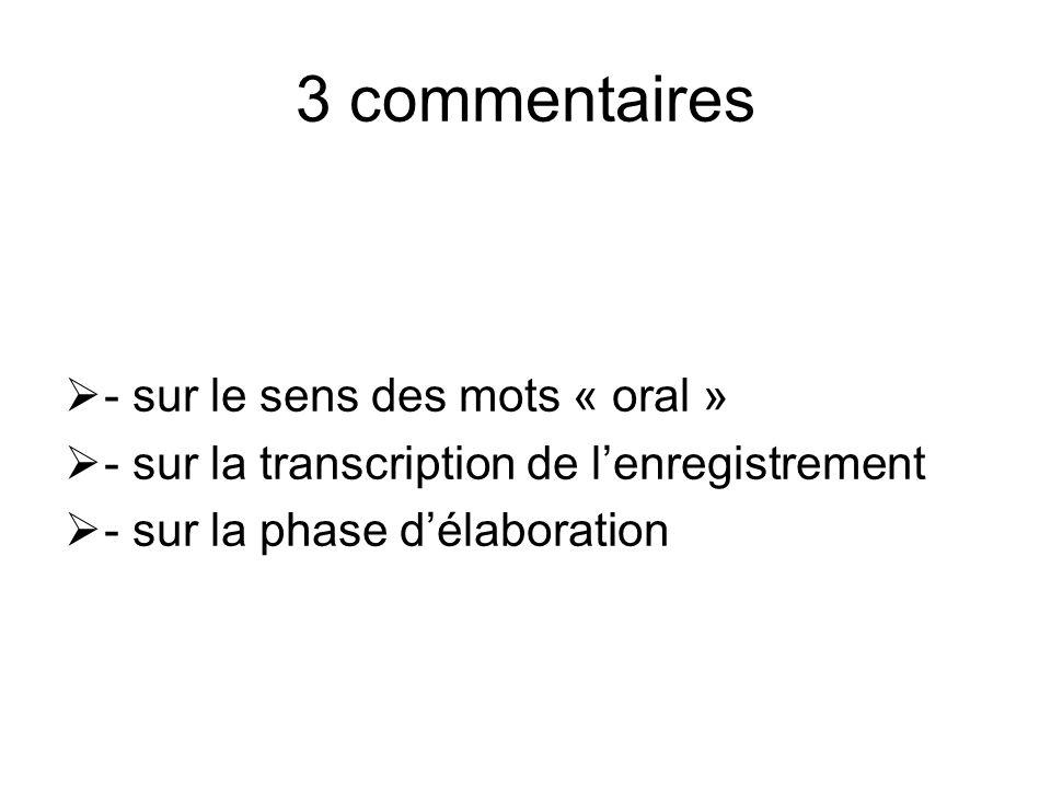 3 commentaires - sur le sens des mots « oral »