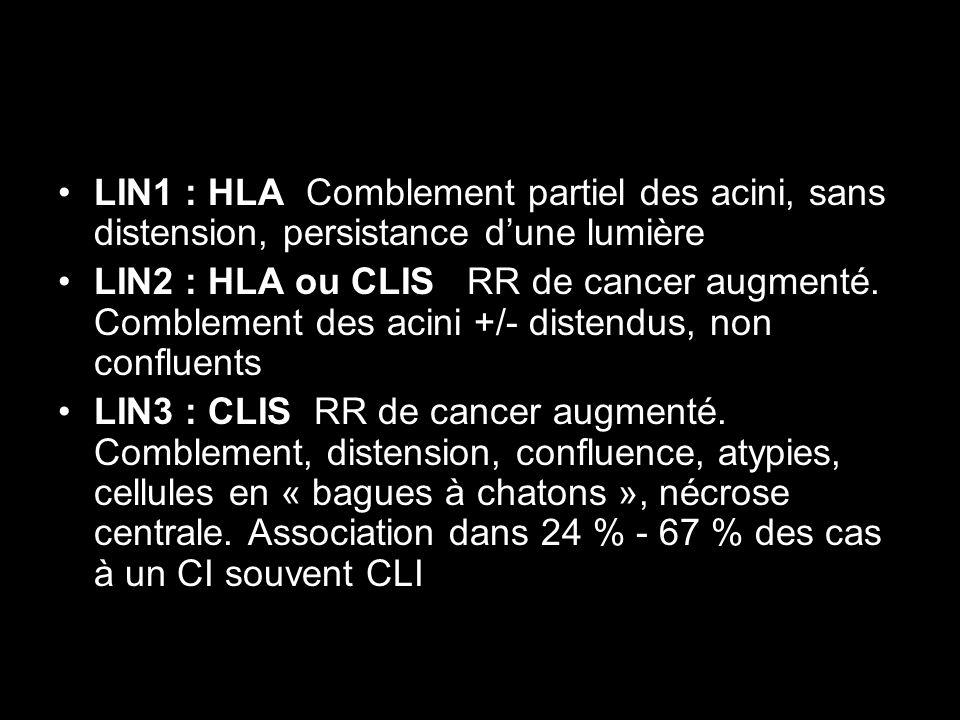 LIN1 : HLA Comblement partiel des acini, sans distension, persistance d'une lumière