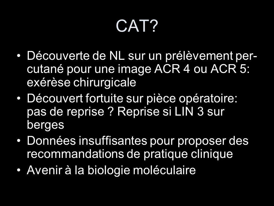 CAT Découverte de NL sur un prélèvement per-cutané pour une image ACR 4 ou ACR 5: exérèse chirurgicale.