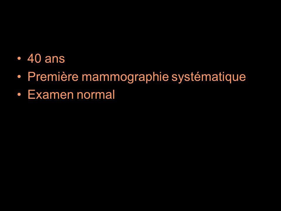 40 ans Première mammographie systématique Examen normal