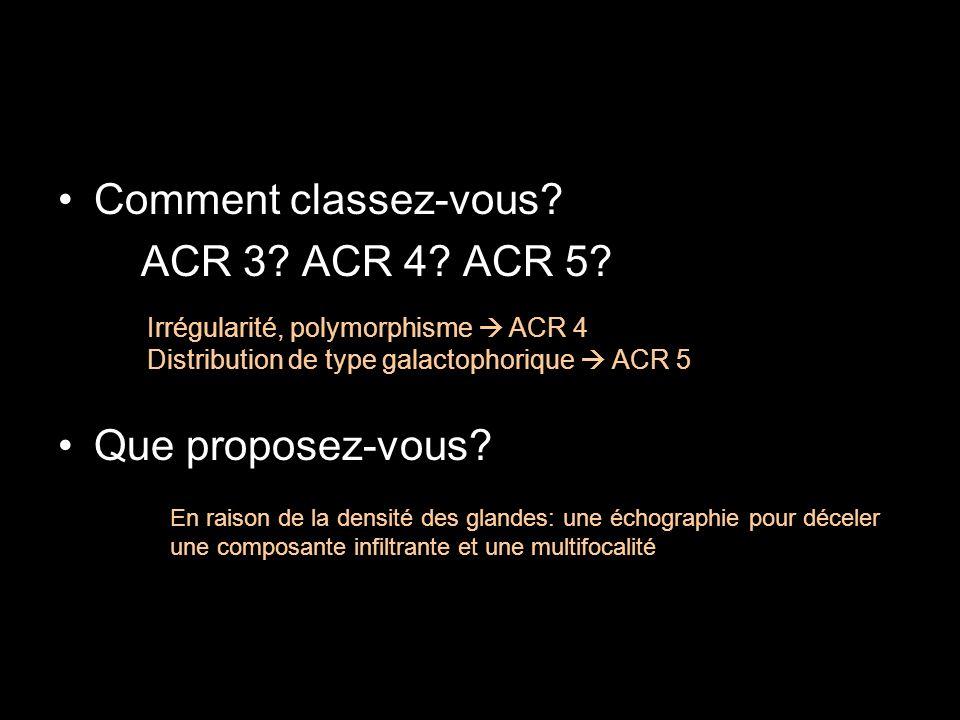 Comment classez-vous ACR 3 ACR 4 ACR 5 Que proposez-vous