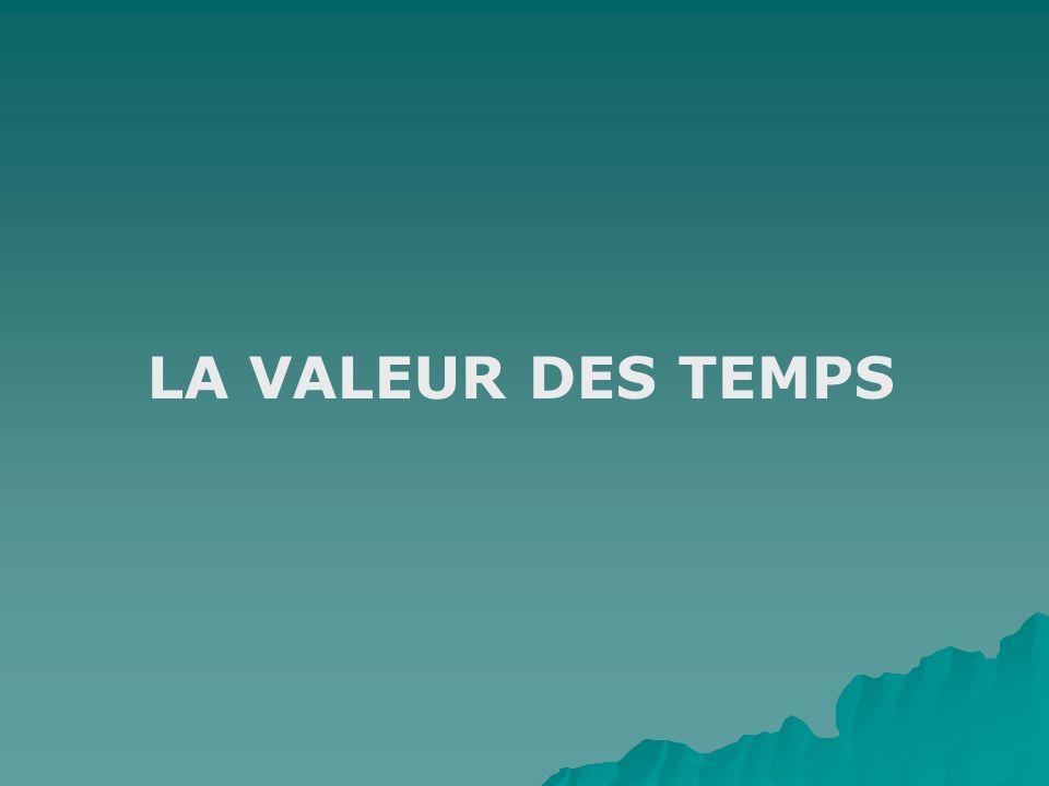 LA VALEUR DES TEMPS