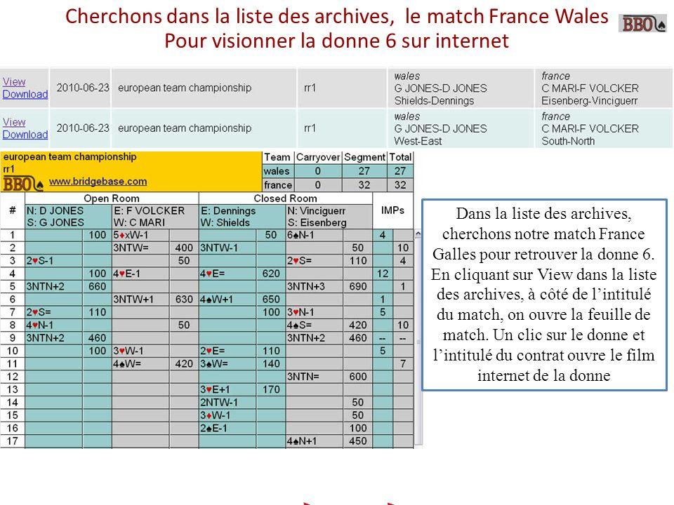 Cherchons dans la liste des archives, le match France Wales