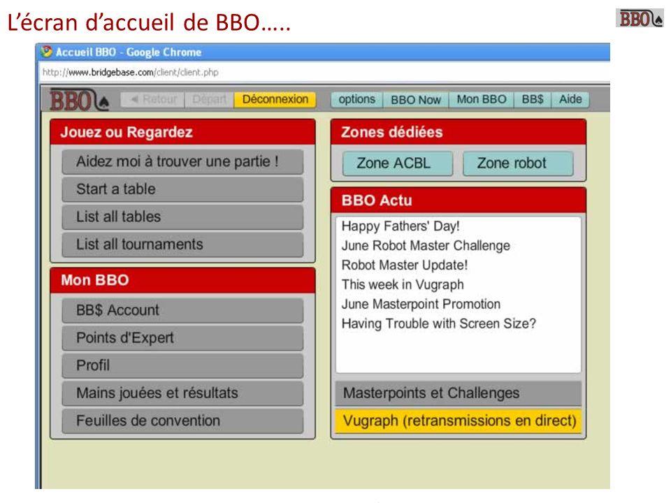 L'écran d'accueil de BBO…..