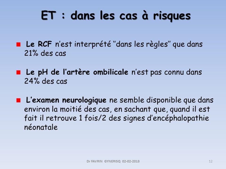 ET : dans les cas à risques