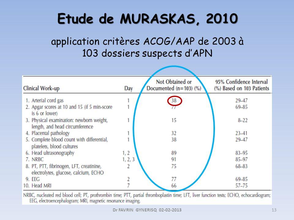 Etude de MURASKAS, 2010 application critères ACOG/AAP de 2003 à 103 dossiers suspects d'APN