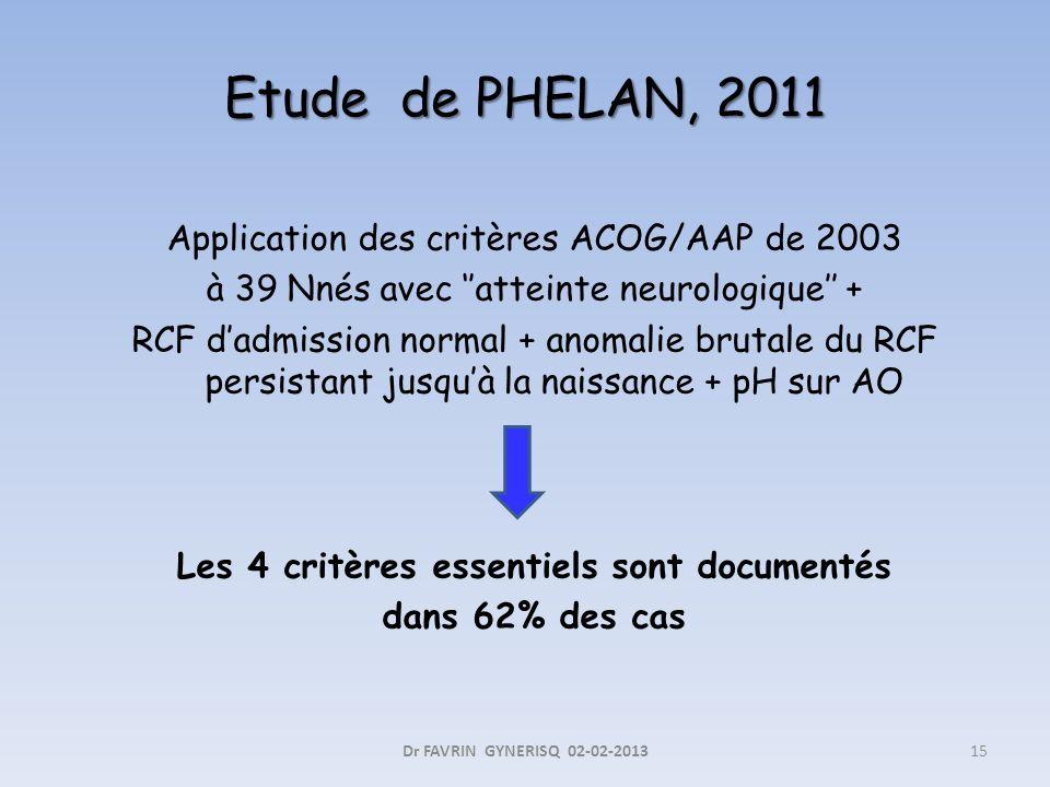 Etude de PHELAN, 2011