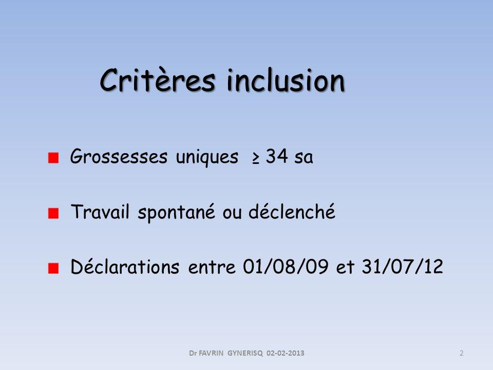 Critères inclusion Grossesses uniques ≥ 34 sa