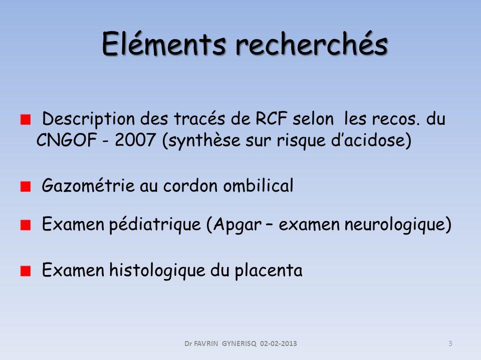 Eléments recherchés Description des tracés de RCF selon les recos. du CNGOF - 2007 (synthèse sur risque d'acidose)