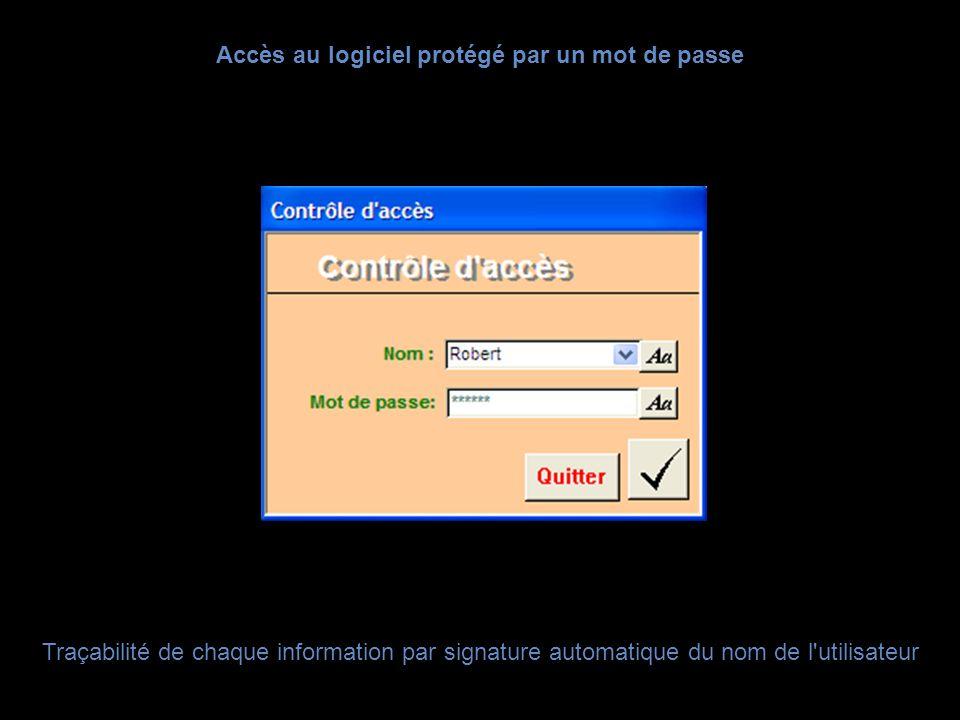 Accès au logiciel protégé par un mot de passe
