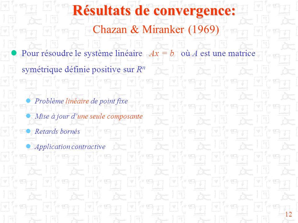 Résultats de convergence: Chazan & Miranker (1969)