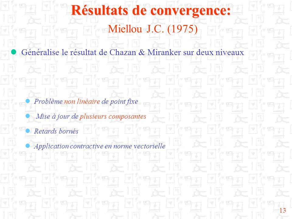 Résultats de convergence: Miellou J.C. (1975)