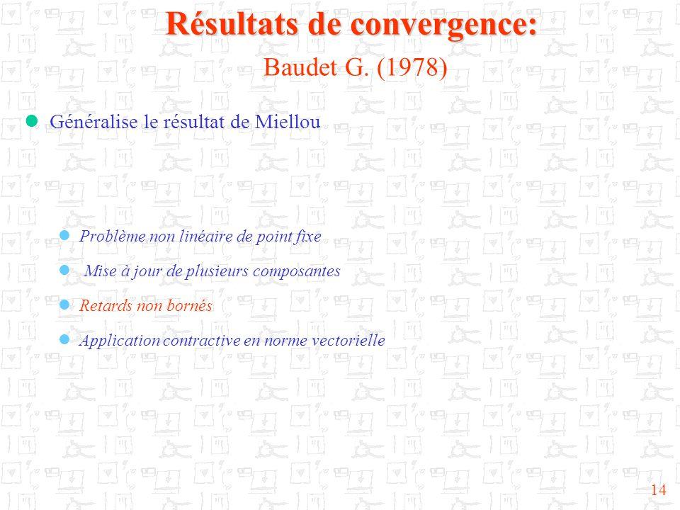 Résultats de convergence: Baudet G. (1978)