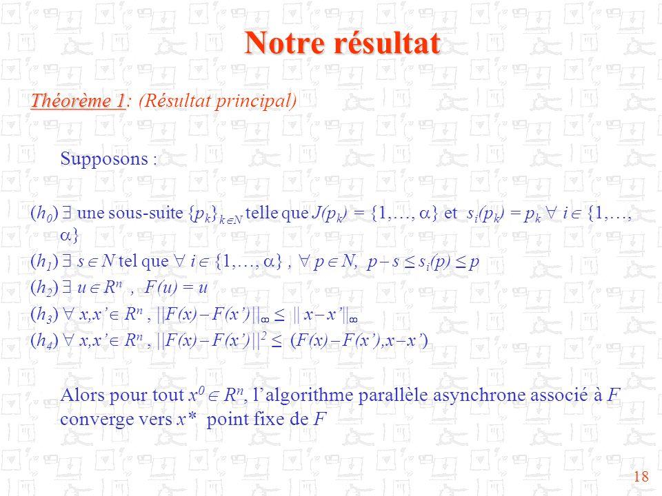 Notre résultat Théorème 1: (Résultat principal) Supposons :