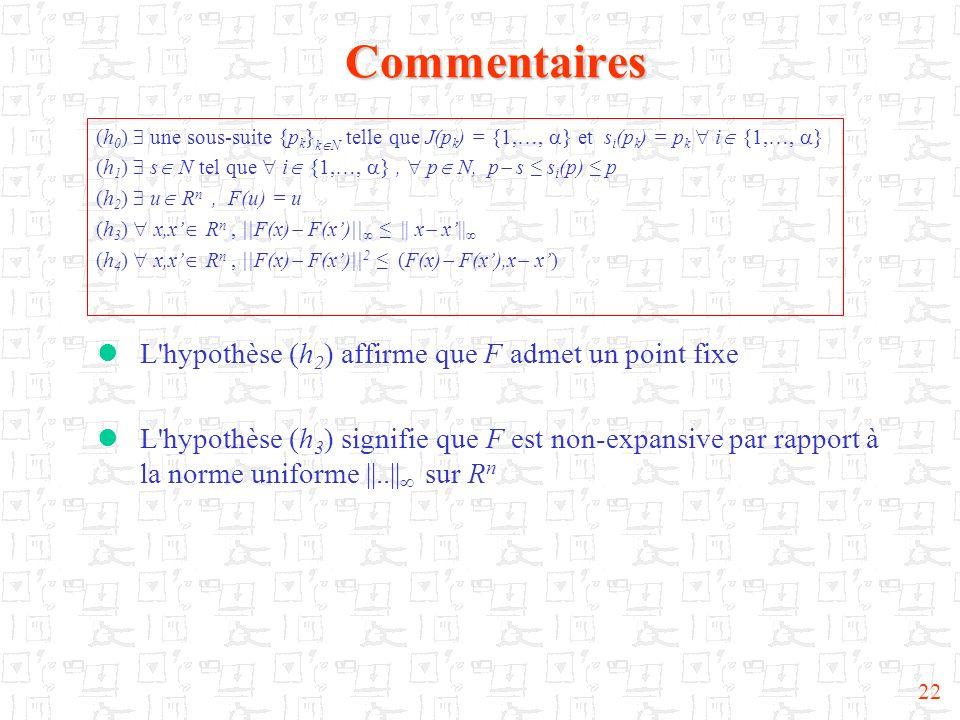Commentaires L hypothèse (h2) affirme que F admet un point fixe