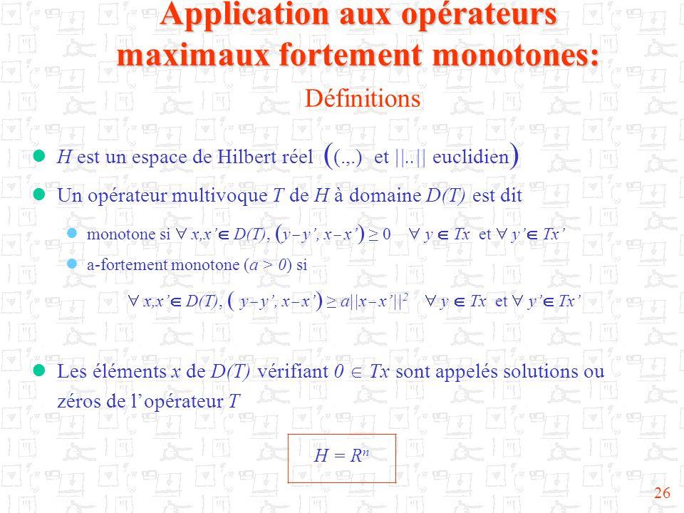 Application aux opérateurs maximaux fortement monotones: Définitions