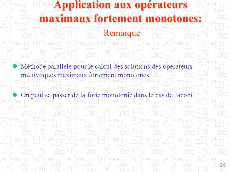 Application aux opérateurs maximaux fortement monotones: Remarque