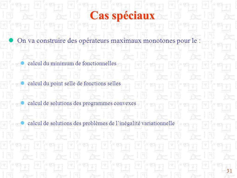 Cas spéciaux On va construire des opérateurs maximaux monotones pour le : calcul du minimum de fonctionnelles.
