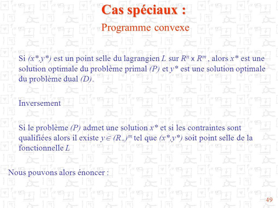 Cas spéciaux : Programme convexe