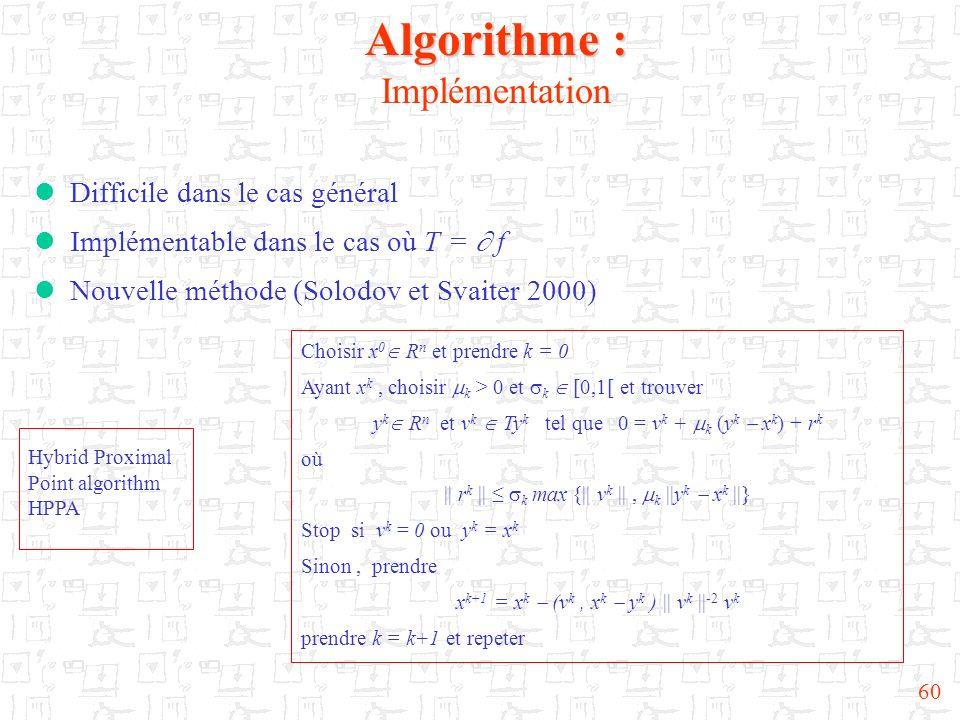 Algorithme : Implémentation