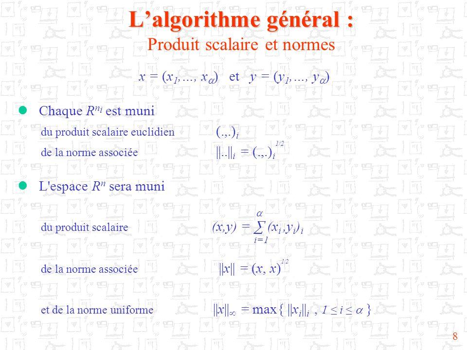 L'algorithme général : Produit scalaire et normes