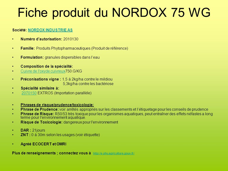 Fiche produit du NORDOX 75 WG