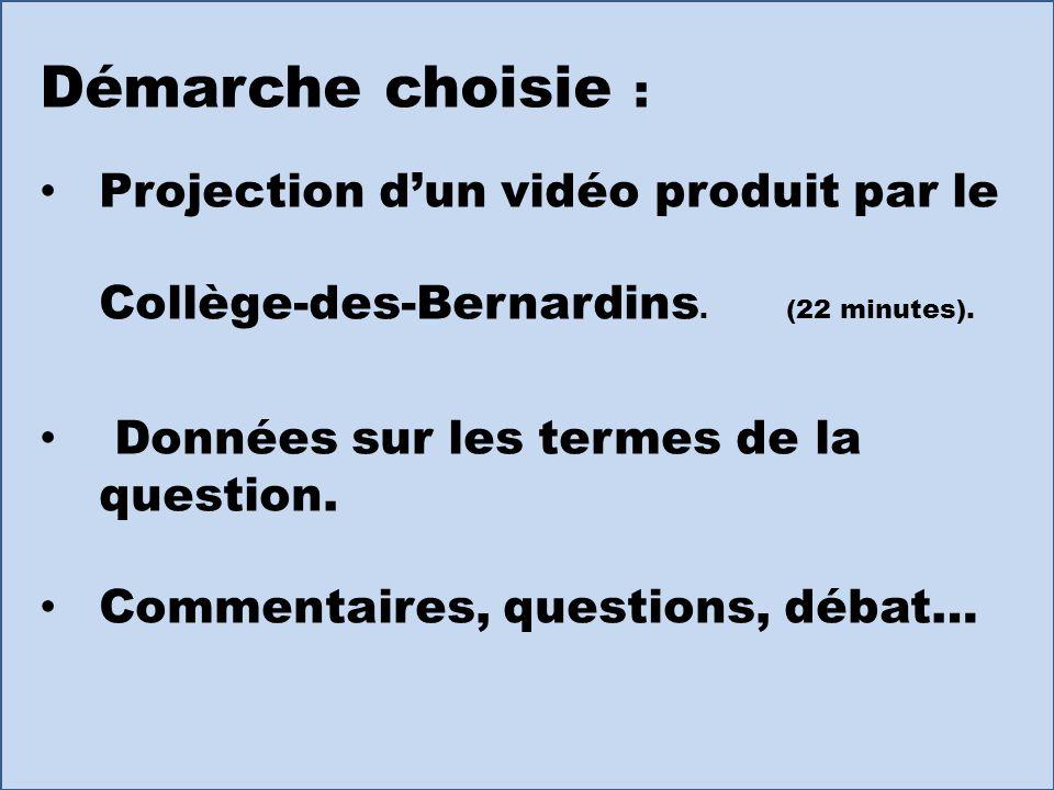 Démarche choisie : Projection d'un vidéo produit par le Collège-des-Bernardins. (22 minutes). Données sur les termes de la question.