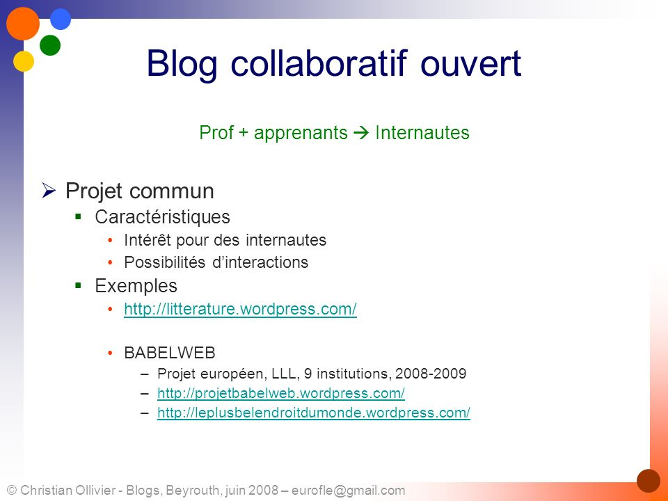 Blog collaboratif ouvert
