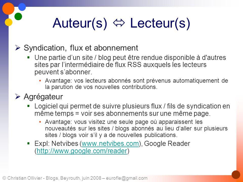 Auteur(s)  Lecteur(s)